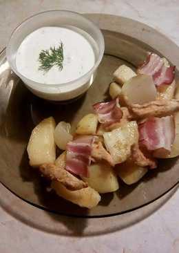 Tepsis krumpli csirkemellel és tzatziki szósszal