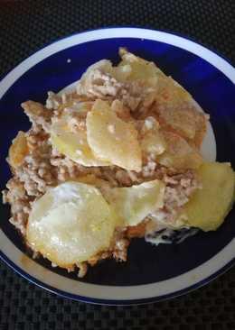 Tejszínes tepsis krumpli darált hússal