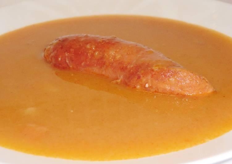 Sárgaborsó leves recept kolbásszal