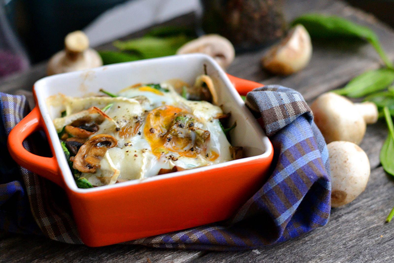 Spenótos-gombás tojás sütőben sütve recept főfotó
