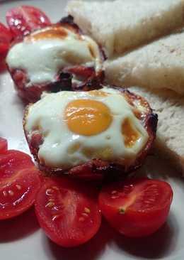 Muffinsütőben sült sonka tojás