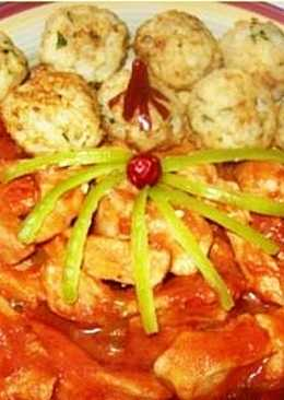 Csípős-mézes csirkemell, sült rizsgolyóval