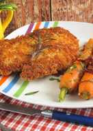 Rántott csirkecombfilé narancsos sárgarépával