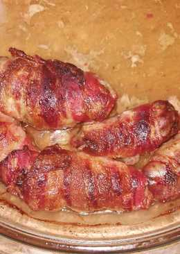 Baconba göngyölt csirkemáj