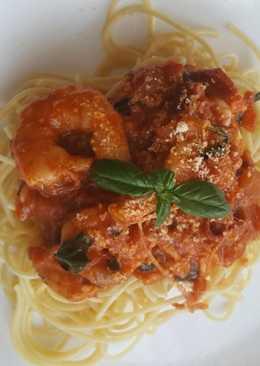 Garnélás spagetti aszalt paradicsommal