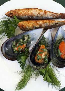 Sült fekete kagyló fűszeres vajjal