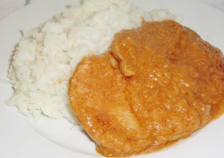 Fokhagymás hús recept, párolt rizzsel