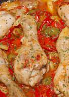 Serpenyős csirke recept olívával és pritaminpaprikával
