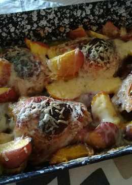 Gyömbéres-mustáros csirkecomb sajtos sült nektarinnal