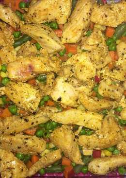 Zöldségágyon csirkemell, besamellel leöntve