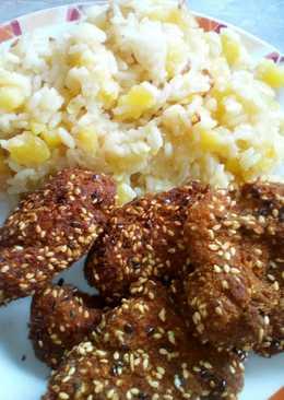 Szezámos-lenmagos csirke, krumplis rizzsel