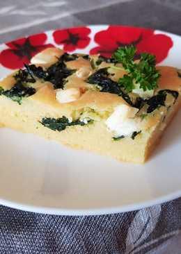 Proja (szerb kukorica kenyér) spenóttal és fetával