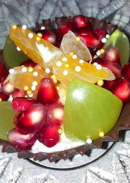 Csokoládékosárkák mascarponés habbal és friss gyümölccsel
