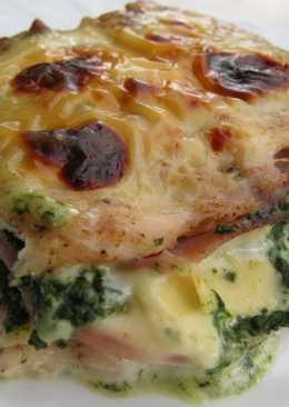 Csirkemell spenóttal, sonkával, sajttal töltve