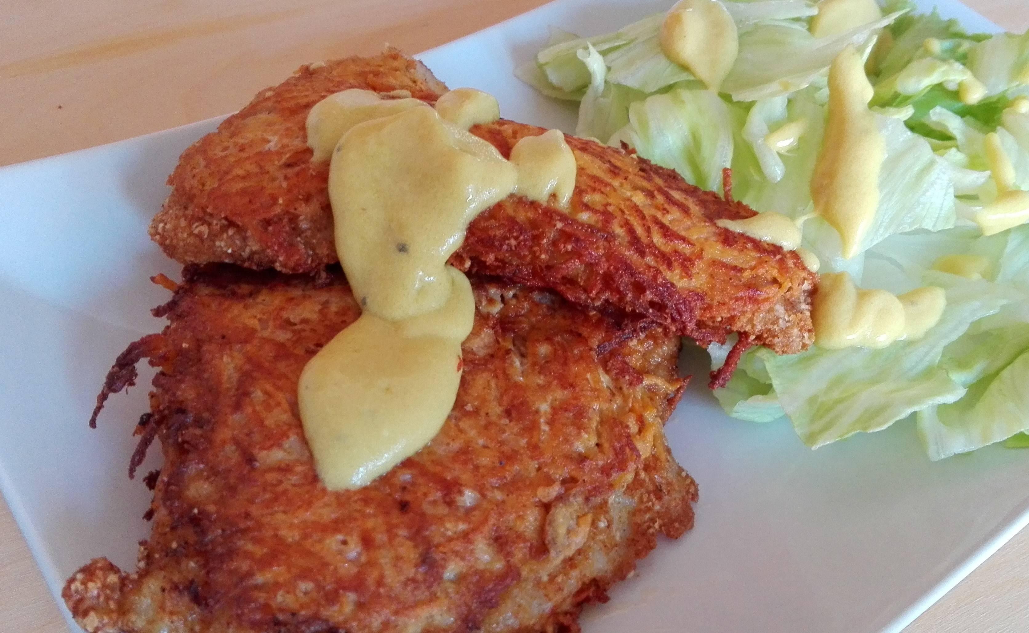 Édesburgonyás tőkehalfilé mustáros dresszinggel recept főfotó