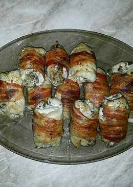 Baconos-gombás csirketekercs