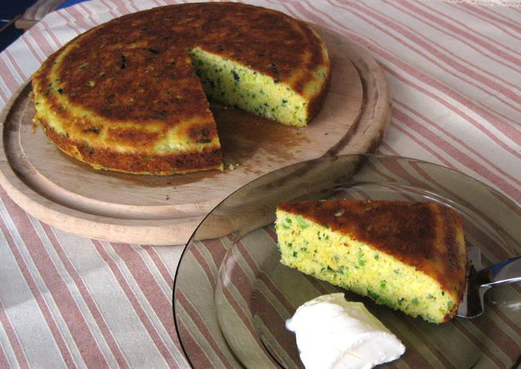 Póréhagymás polenta-torta