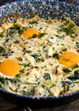 Ricottás-spenótos sült tojás