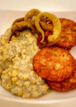 Kókuszos kukorica saláta, fűszeres rösztivel