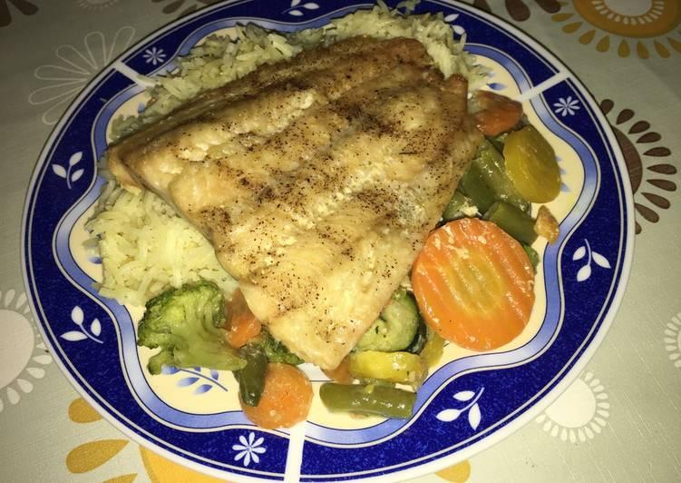 Harcsafilé rizzsel és zöldségekkel