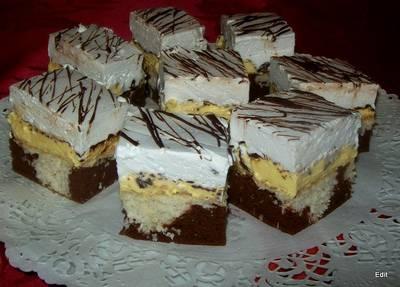 Kókuszos habgaluskás, krémes sütemény
