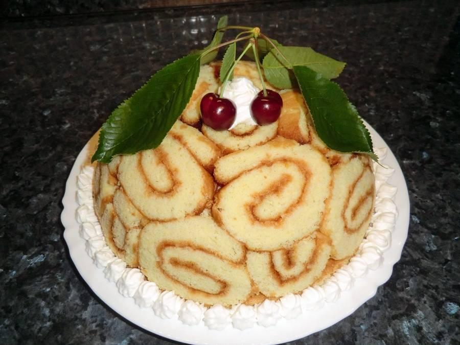 Charlotte torta recept cseresznyés-túrós töltelékkel főfotó