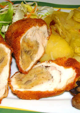 Töltött, rántott csirkemell recept, tepsis burgonyával