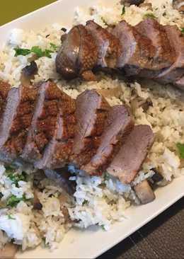 Libamellfilé gombás, petrezselymes rizzsel