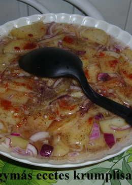 Lilahagymás ecetes krumplisaláta