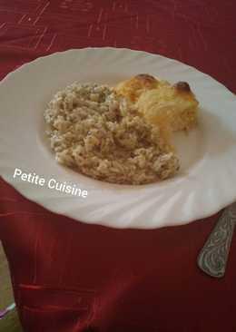 Tejszínes, ananászos rakott csirkemell fűszeres rizzsel