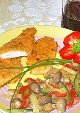 Fokhagymás-joghurtos csirkemell, vajas zöldség 🐔