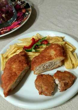 Velőrózsás csirkemell, sajtbundában GM