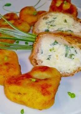 Dupla sajtos csirke, burgonyaszívvel