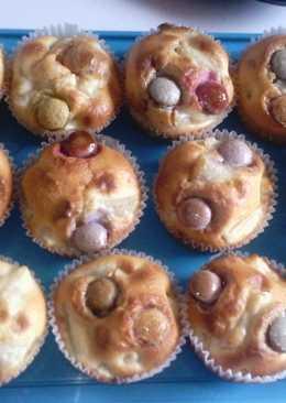 Nashi körtés-diós muffin smarties-zal