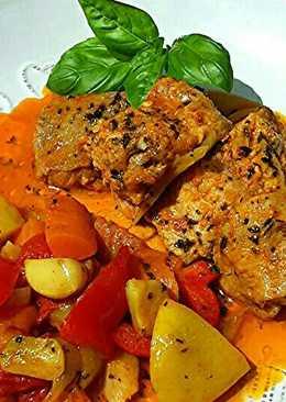 Marokkói hal, csípős zöldségágyon