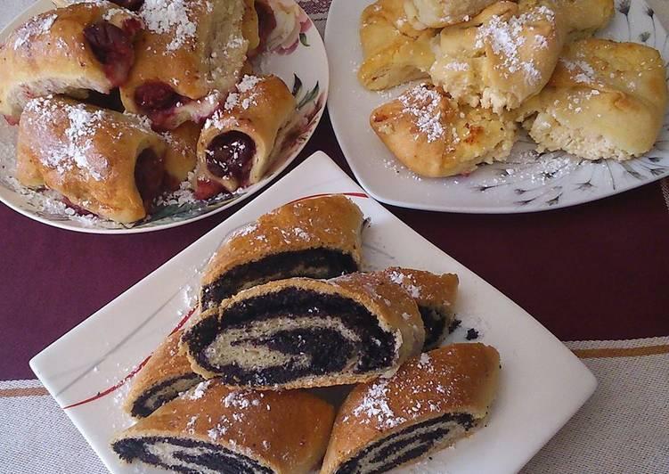 Túrós, meggyes, mákos süti, Kata módra
