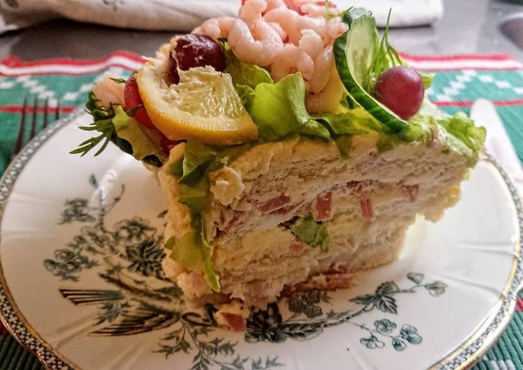 "Svéd 🇸🇪 szendvicstorta rákkal ""Smörgåstårta"""