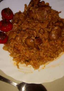 Csirkemáj pörkölt, rizzsel