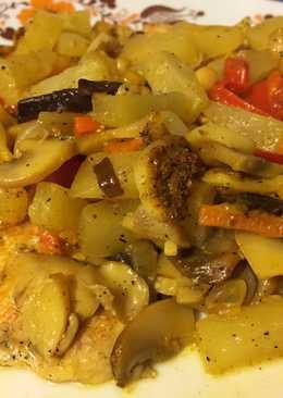 Ananászos-zöldséges sült csirkemell
