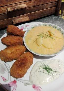 Rántott csirkeszárnyak snidlinges sajtos martogatóssal