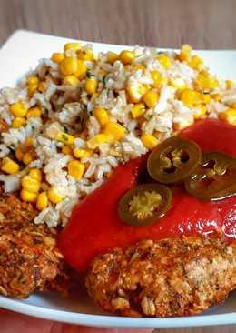 Fűszeres zab fasírt, kukoricás barna rizzsel