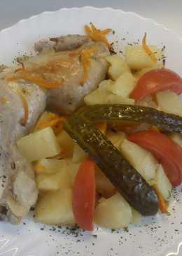 Sült csirke, zöldségekkel
