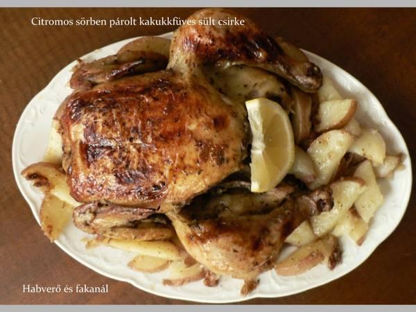 Citromos sörben párolt kakukkfüves sült csirke