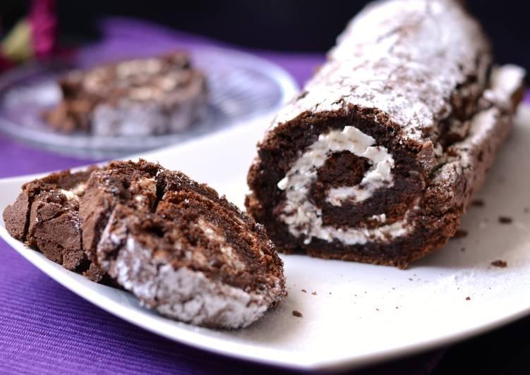 Gluténmentes, csokoládés-mascarponés piskótatekercs