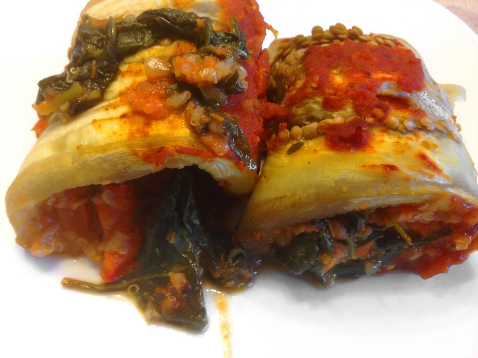 Quinoával töltött padlizsán tekercs recept főfotó