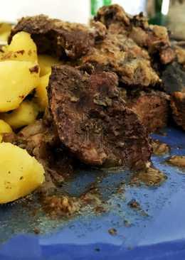 Mustáros, fűszeres csirkemáj, tepsiben