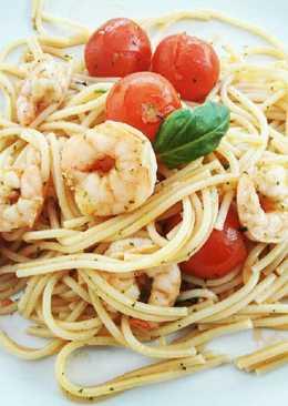 Garnélás chilis spagetti