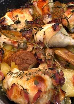 Csirkés-körtés egytálétel 🍗🥔🍾🍐🥓🍯