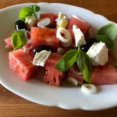 Cooksnap af Vandmelon salat med feta og oliven