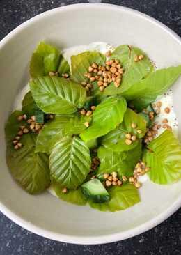 Salat af bøgeblade, cremefraiche og ristet hel boghvede